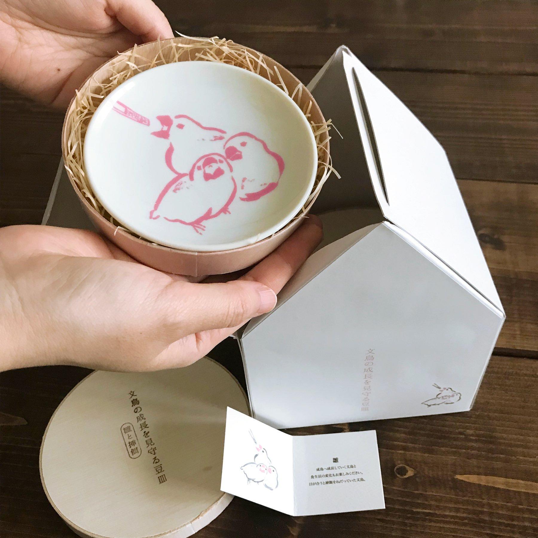 「文鳥の成長を見守る豆皿」の三枚お迎えセット